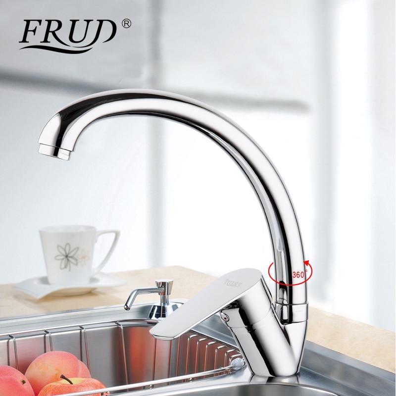 Frud New Silver High Quality Water Mixer Tap Kitchen Sink Faucet Torneira 360 Kitchen Sink Mixer Water Taps Kitchen Mixer R41105