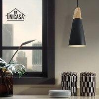 Vintage Wood Pendant Lights Modern Black Aluminum LED Lighting Fixtures Kitchen Island Office Hotel Antique Pendant