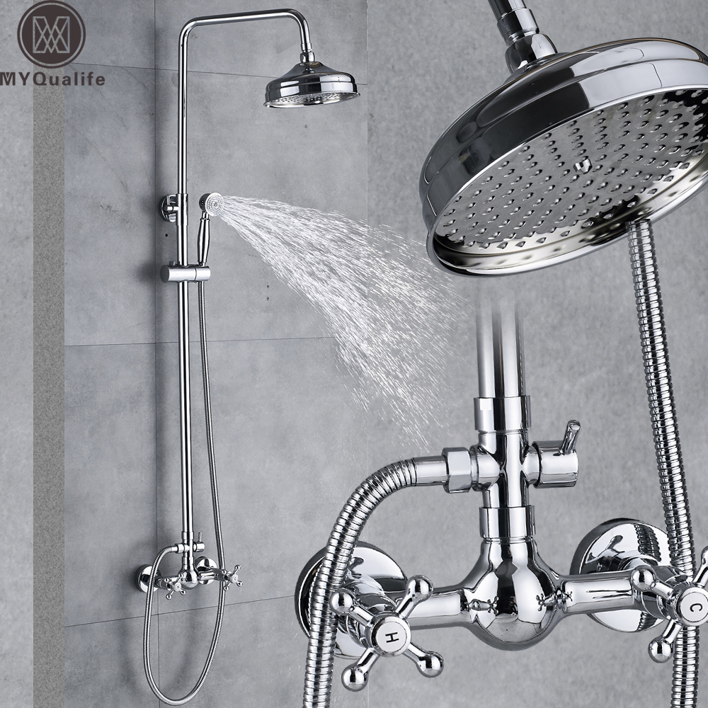 Wall Mount Shower Faucet Rainfall 8 Brass Shower Head Bathroom Shower Mixer System Dual Handle Chrome Shower Mixer Tap wall mount shower faucet rainfall 8 brass shower head bathroom shower mixer system dual handle chrome shower mixer tap
