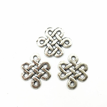 50Pcs Silver Tone Pendants For Bracelets Hollow Chinese Knot Metal Craft Charms Jewelry DIY Accessories 17mm