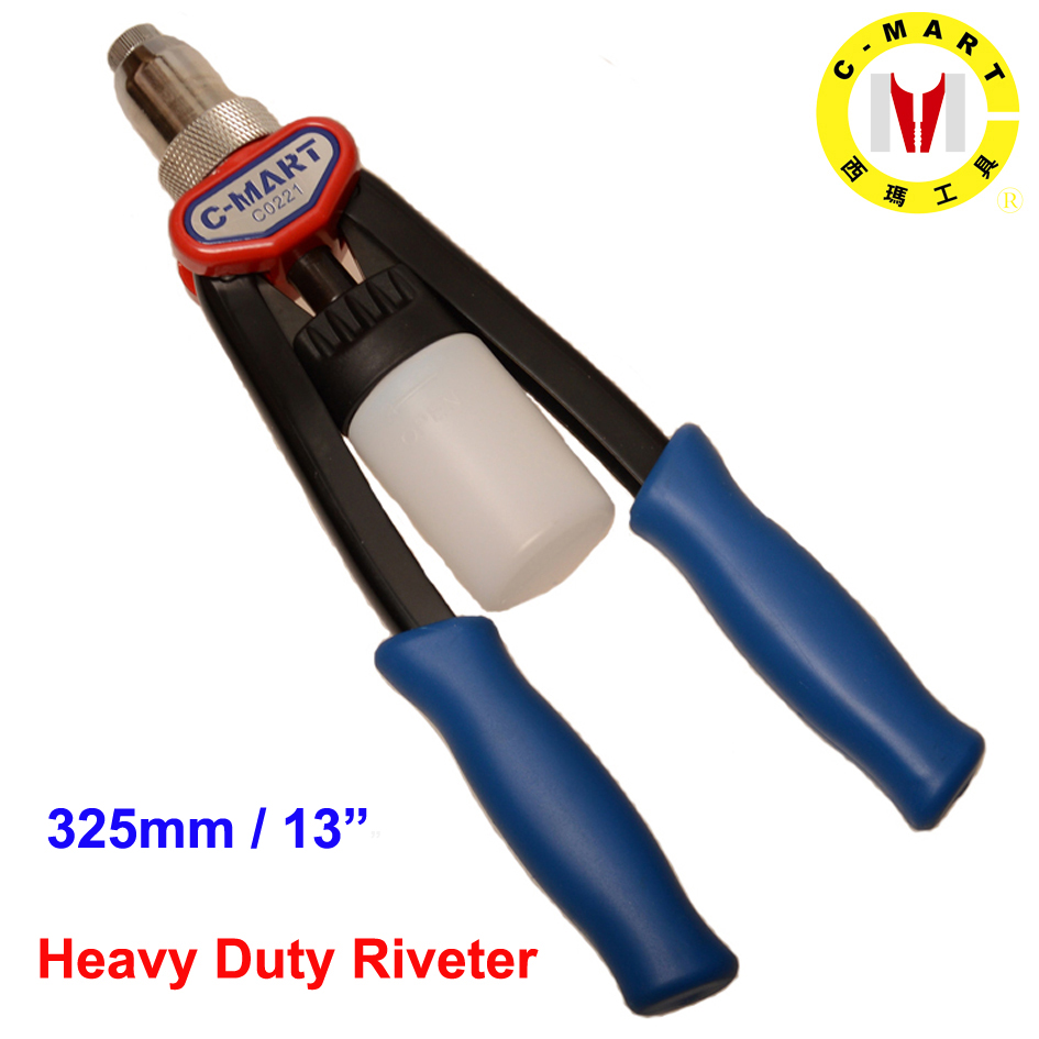 C-mart Hand Tools Heavy Duty Industrial Manual Rivet Tools 2.4,3.2,4.0,4.8mm Hand Riveter Double Handle Labor Saving