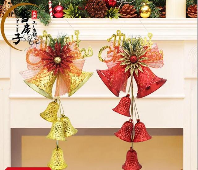 christmas tree decorations 2pcsbag christmas decor jingle bell with ribbon for home 40cm height