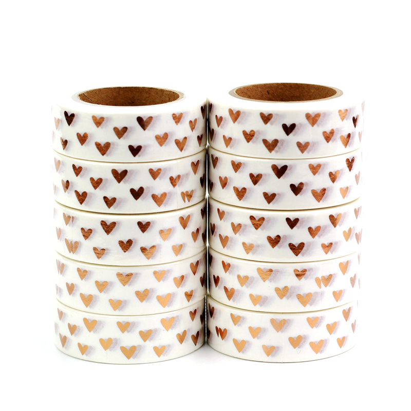 High Quality 10pcs/lot Copper Hearts Valentines Foil Washi Tapes Scrapbooking Planner Adhesive Masking Tapes Kawaii Stationery