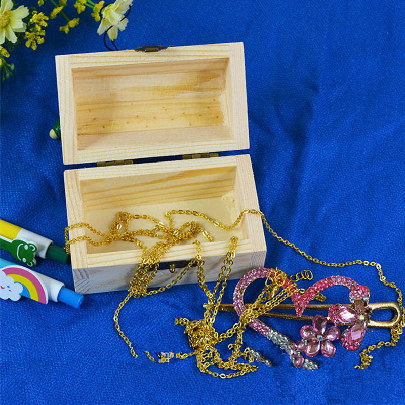 Wood Small Wooden Box With Lid and Lock Jewerally Storage Box Wedding Table Gift Box F20173291