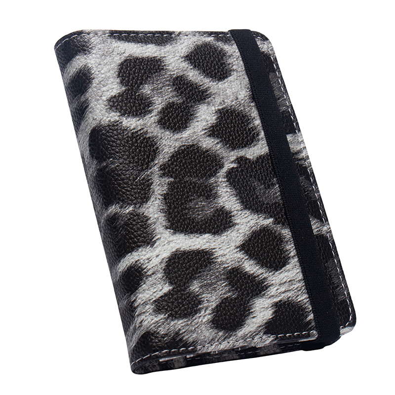 Leopard PU Leather Travel Passport Holder with bandage Passport Cover Built in RFID Blocking Protect personal information