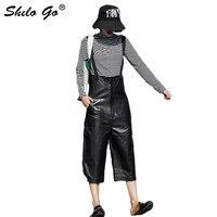 Уличная кожаный комбинезон для женщин, повседневный ремень из овчины, из натуральной кожи, широкие брюки, свободные, на одной пуговице, женс