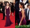 Selena Gomez 2015 Celebrity Dresses Purple V Neck Backless Sweep Train Satin Red Carpet Lady Women Gowns Ruched  BG50543