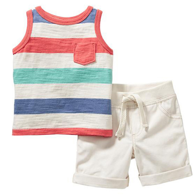 euro 2016 summer bebe clothes children clothing sets school 2 pieces striped vest+shorts nex cotton fabric for sale