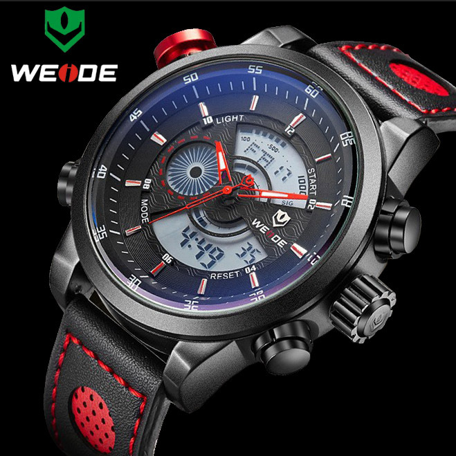 2017 NEW WEIDE Luxury Brand Men's Quartz LED Watches Men Fashion Casual Sports Clock Genuine Leather Military Wrist Watch weide new men quartz casual watch army military sports watch waterproof back light men watches alarm clock multiple time zone