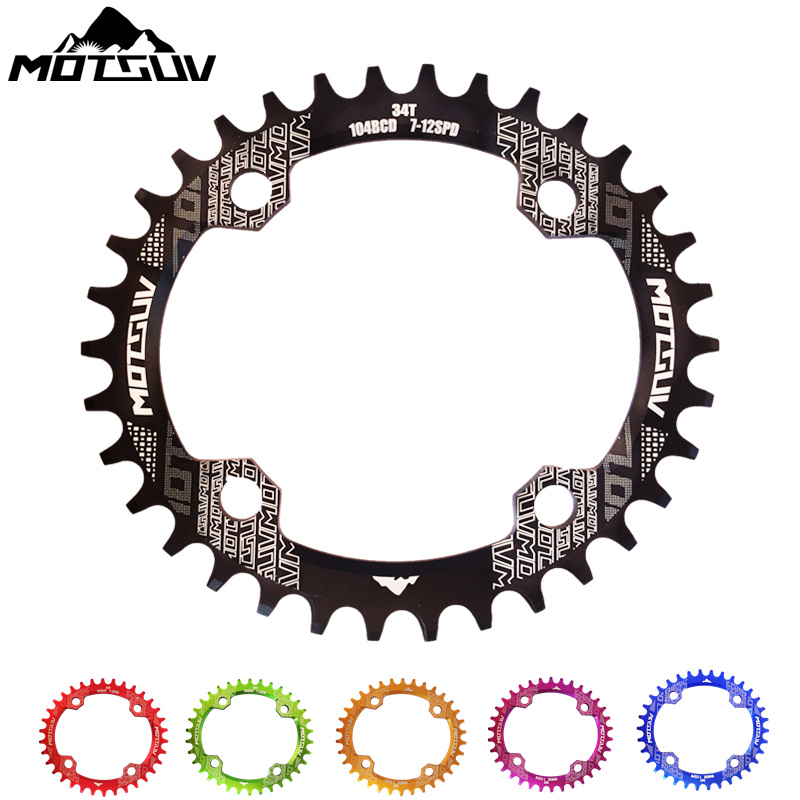 Bicycle Crank Oval 104BCD 32T/34T/36T/38T Cycling Chainring Narrow Wide 7075-T6 MTB Bicycle Chainwheel Circle Crankset Plate motsuv bicycle crank 104bcd oval 32t 34t 36t 38t chainring narrow wide ultralight mtb bike chainwheel circle crankset plate