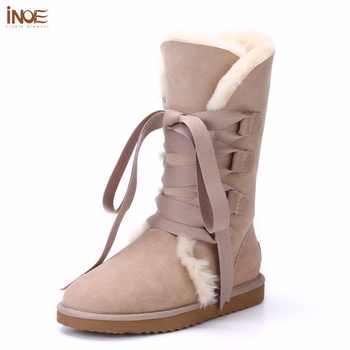 INOE Fashion Lace Up Women High Winter Boots Sheepskin Suede Leather Wool Fur Lined Snow Boots With Bow-knot for Women Purple - DISCOUNT ITEM  48% OFF All Category