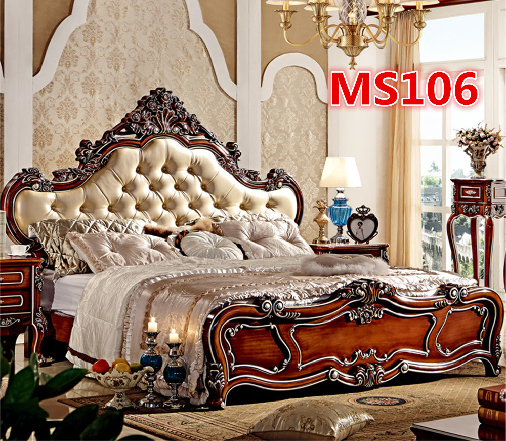 Hand Carved Bed: High Quality Hand Carved Solid Oak Wood Bed MS106-in Beds