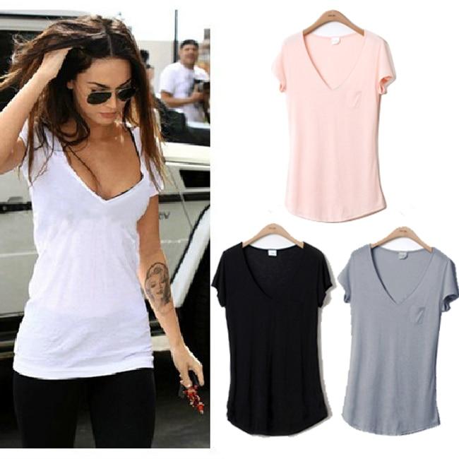 2015 new fashion trend women ladies basic v neck short for Best white t shirt women s v neck