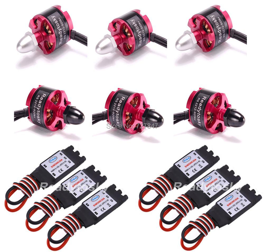 6 X  2212 920KV CW CCW  Brushless Motor + 6 X 30A Simonk ESC with 3.5mm Connector for F330 F450 F550 S550 F550 Multicopter 2212 920kv brushless motor cw ccw 30a simonk brushless esc 1045 propeller for f450 f550 s550 f550 quadcopter frame