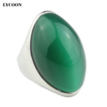 LYCOON newest arrival luxury opal ring 316L stainless steel Channel setting green stone for women party rings LYD0189