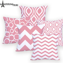 Pillow Case Geometric Pink Decorative Sofa Custom Printed Cushion Cover for Chair