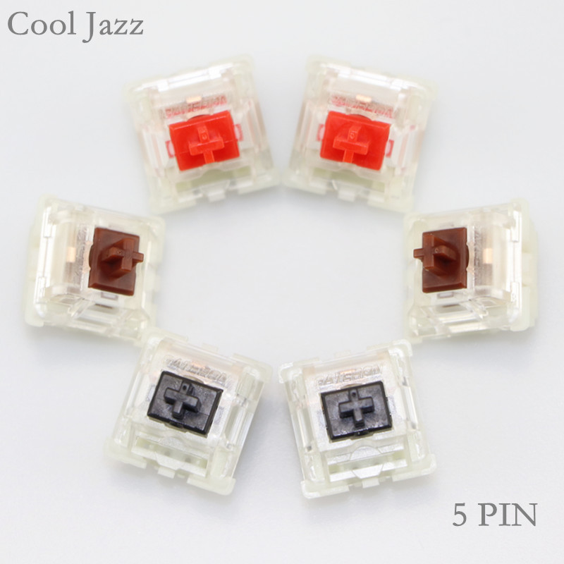 Cool Jazz Gateron mx silent switch 5 pin transparent case Red brown black switches for mechanical keyboard cherry mx compatible