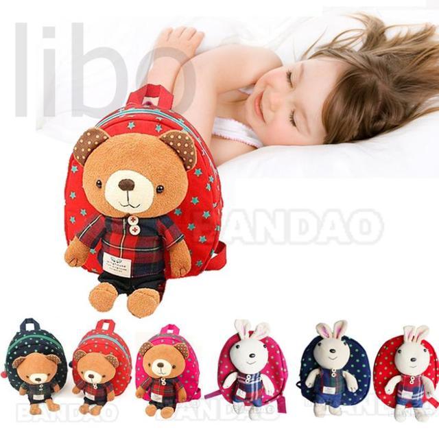 2016 Novidade mochila de crianca com urso de pelucia Bebe desenhos animados do bebe miudo Mochila mochila Bolsas de Ombro