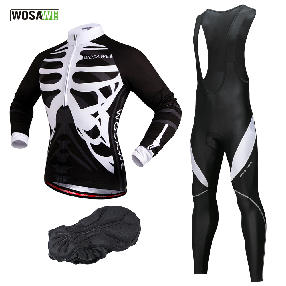 WOSAWE Autumn Men s Cycling Jersey Set UV Protection Team Cycling Clothing fitness Mountain Road Bike