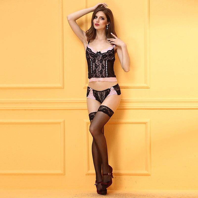 2017 Women Sexy Mesh Lace Sleepwear Ladies Erotic Lingerie Nightwear Robe With G String Underwear Babydoll Night Dress nighties