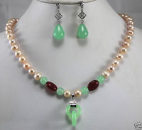 Free Shipping New Style Natural Noble Jewelry New 8mm Mixed Color Pearl Jade Necklace Earring Double