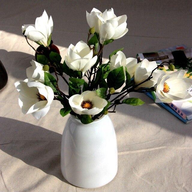 2pcslot magnolia artificial fake silk flower home garden party 2pcslot magnolia artificial fake silk flower home garden party wedding decoration restaurant hotel living mightylinksfo