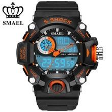 SMAEL Montres Hommes Militaire Armée Mens Montre Reloj Led Numérique Sport Montre-Bracelet Mâle Cadeau Analogique S Choc Automatique Montre WS1385