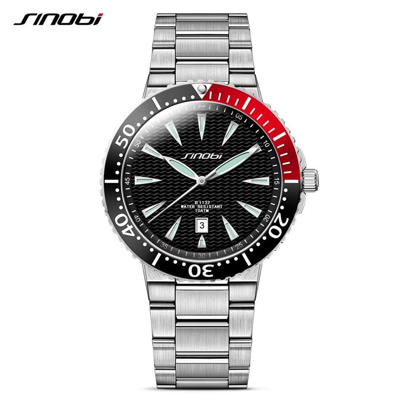 COOL Luxury Brand SINOBI Watch Men Auto Date Full Stainless Steel Mens Watch Quartz Analog Sport Luminous Multifunction Watches sinobi 1850 men alloy analog quartz watch