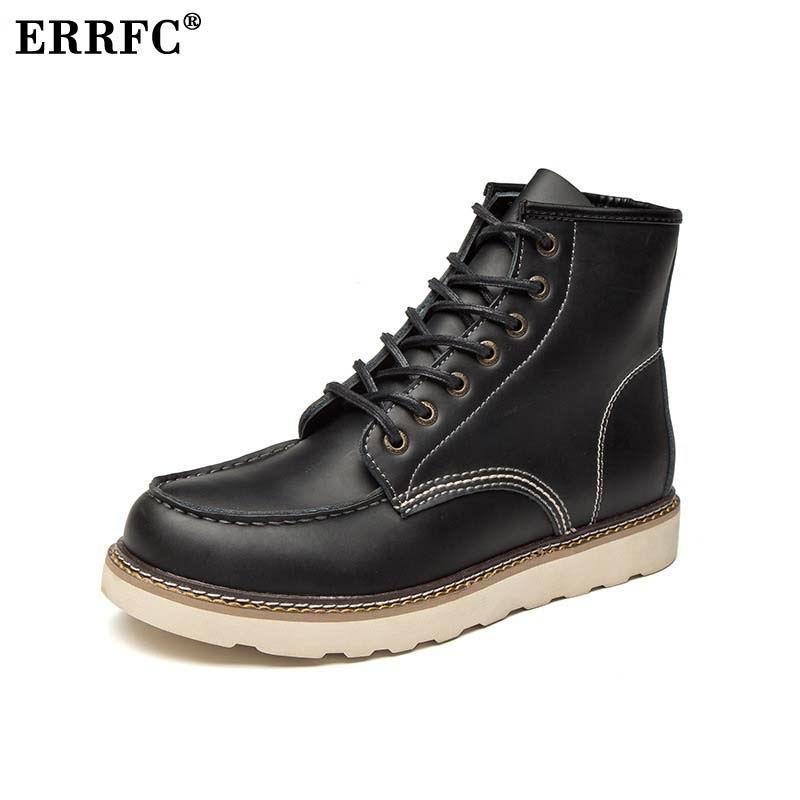 Nueva llegada de ERRFC botas de trabajo negras para hombre moda invierno cálido hombre marrón botas de tobillo de motocicleta zapatos de plataforma para hombre 46-in Botas de motocicleta from zapatos    1