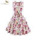 Túnica vestidos s-4xl tallas grandes mujeres dress verano de la impresión floral retro casual party túnica modela del rockabilly 50 s vestidos de época
