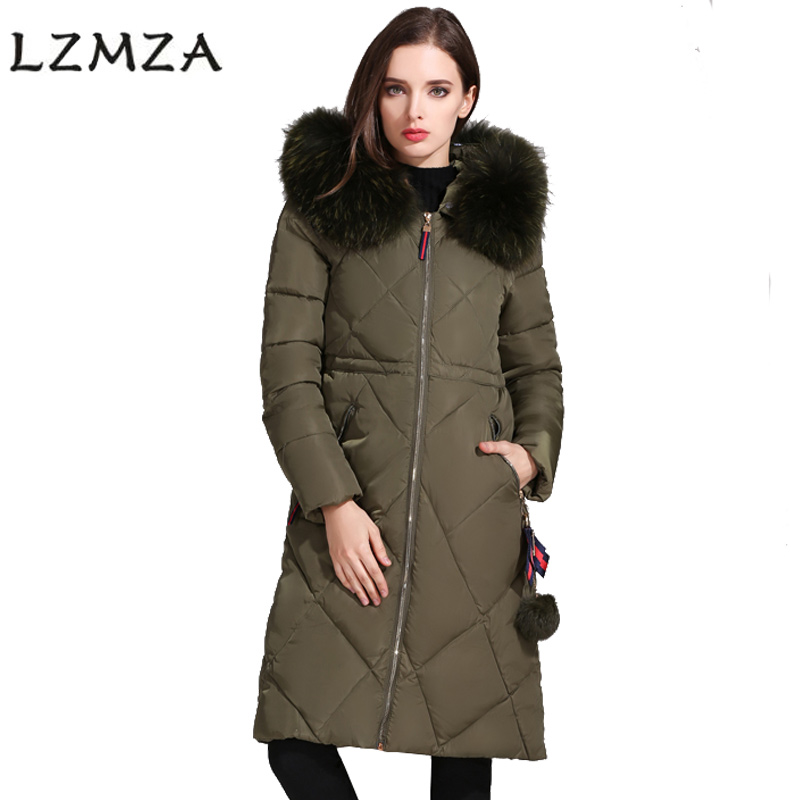 LZMZA 2017 Winter Coat Women Hooded Long Jackets Parkas Fashion Fur collar Thick Warm Cotton Jacket Women Jackets And Coats 2017 women jackets and coats solid slim large fur collar hooded short parkas thick jacket winter women warm coat overcoat sy003