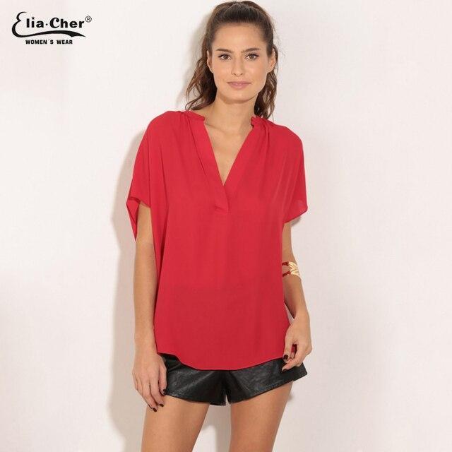 c2238b7ec82d Mulheres Blusa Mulheres Tops Eliacher Marca Plus Size Roupas Femininas  Chique Elegante 2 cores jV-