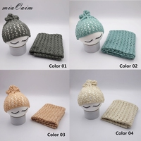 4sets/lot Slub Yarn Handcrochet Alike Knitted Stretchable Solid Color Pointelle Baby Wrap and hat New Born Photo Scarf With Hap