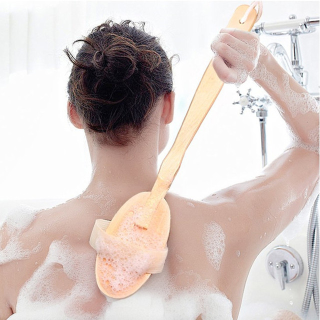 2 In 1 Removable long-handled wooden natural bristle brush bath brush massager Baby bath Shower bathroom accessories 5