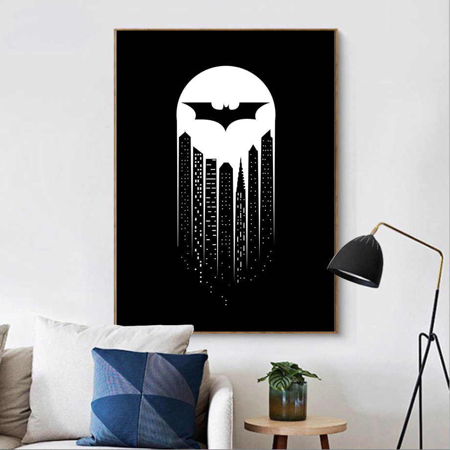 Black white superhero batman dark city wall art canvas painting nordic posters and prints anime wall