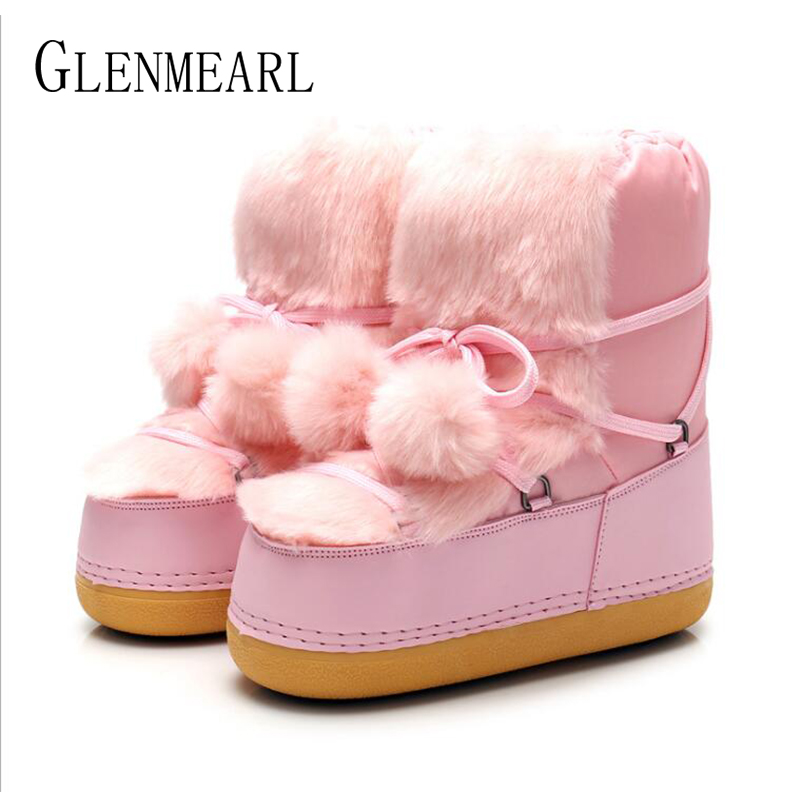 Snow Boots Women Shoes Winter Warm Cotton Hairball Boot Female Casual Slip On Ankle Ladies Shoe