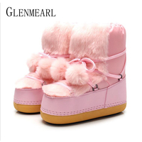 Snow Boots Women Shoes Winter Warm Cotton Hairball Boot Female Casual Slip On Ankle Ladies Shoe Fashion Round Toe Party Boot DE