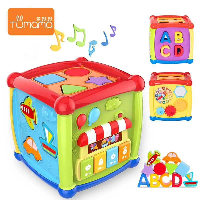 Tumama Multifunctional Musical Toys Baby Fun Clock Musical Electronic Geometric Blocks Sorting Learning Educational Toys Gifts