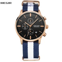 2019 Fashion Quartz Watch Men Top Brand Luxury MEGIR Watches for Men Canvas 3 Working Sub dials Luminous Hands Dial Sport Clock