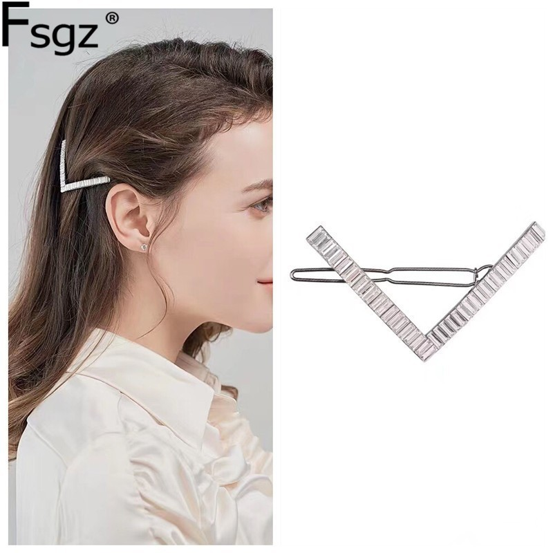 Luxury Crystal Hair Jewelry For Women Cubic Zircon Metal Hairpins Wedding Ornament Hair Clips Geometric Hair Accessories 2019