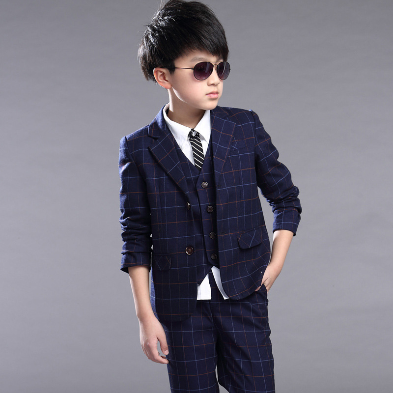 Children Clothing Set Brand Formal Wedding Dress Suit School Uniform Sets Coat Waistcoat Vest Pants Kids Blazer Clothes For Boys