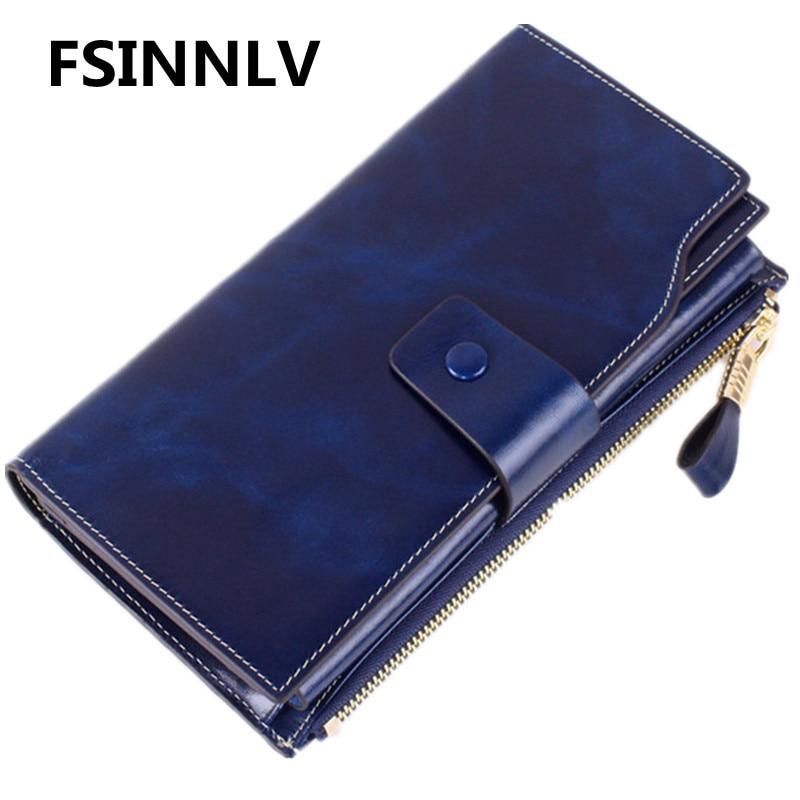FSINNLV Genuine Leather Wallet for Women Zipper& Hasp Lady Long Wallets Women Purse Female Women Wallet Card Holder Clutch HB71 fsinnlv genuine leather wallet for women zipper