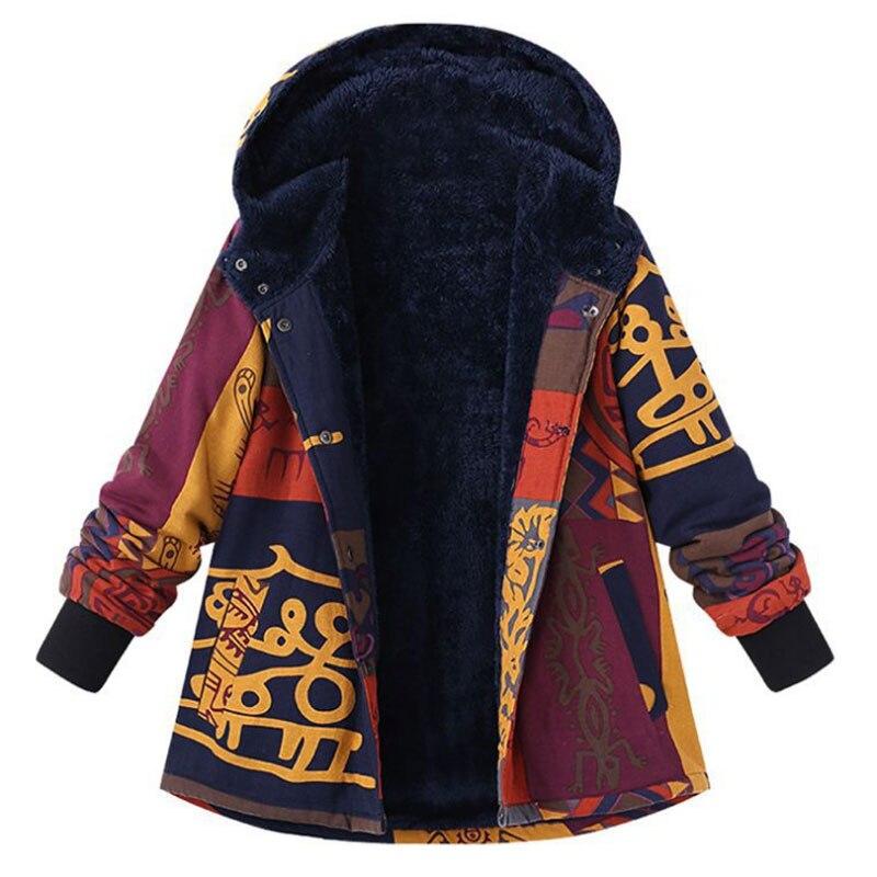 2018 Plus Size M-5XL Winter Long Sleeve Basic Jacket Outerwear Women Printed Hooded Coats Fleece Buttons Warm Long Coat Jackets