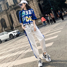 New style Printed t-shirt + Hip hop pants two-piece suit Fashion casual sports Casual ladies