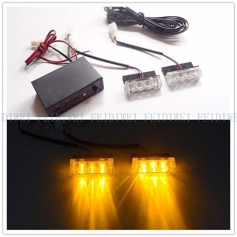 03013 2x3led LED motorcycle flash light Strobe Flash Warning EMS Car Truck Light Flashing Firemen Lights DC 12V 2*3LED
