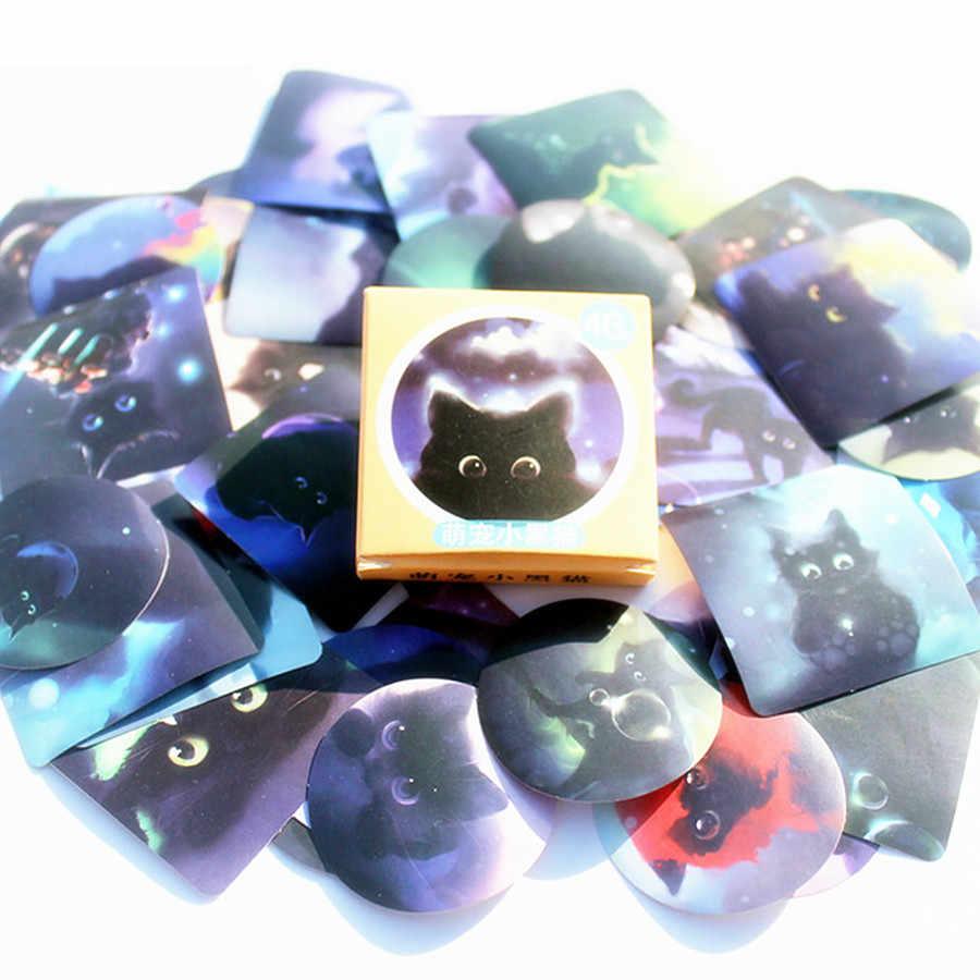 Kawaii Lucu Kecil Kucing Hitam Pola Dekorasiacion Stiker Scrapbooking Stiker Kantor Mahasiswa Pemasok