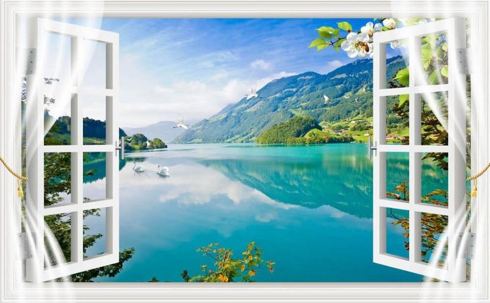3d Large Wall Mural Wallpaper Hd Balcony Window Beach Sea: Landscape Wallpaper Murals Scenery Window 3d Mural