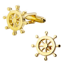 A pair of high quality gold plated brass material helmsman cufflinks new retail wholesale fashion men's shirts cufflinks