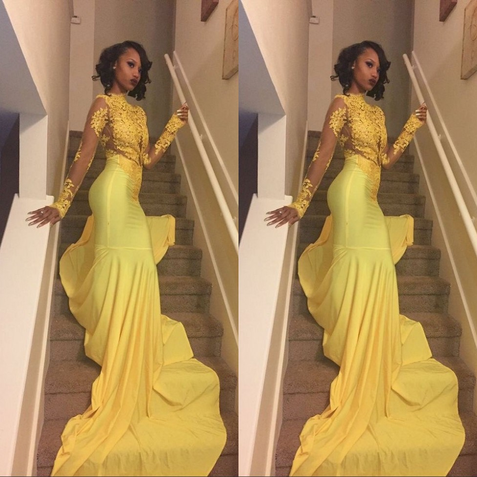 8205c4fa65b1 Cute Yellow High Neck Long Sleeves Court Train Lace Applique Crystl Spandex  Mermaid Prom Dresses Prom Dresses Mermaid Party Gown