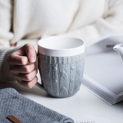 Retro Gray wool sweater coffee mug creative ceramic relief milk cups simple fashion European flower tea cup free shipping